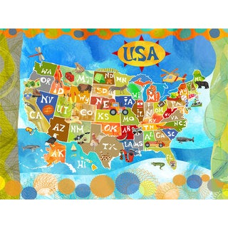 Oopsy daisy 'Explore the USA!' 40 x 30-inch Stretched Canvas Wall Art