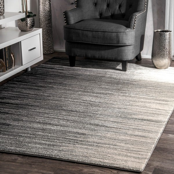 Shop Nuloom Black Abstract Geometric Striped Rainfall Ombre Area Rug