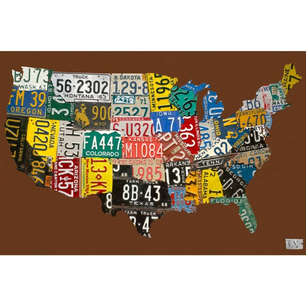 Oopsy Daisy License Plate USA Map Chocolate Inch Stretched - License plate usa map