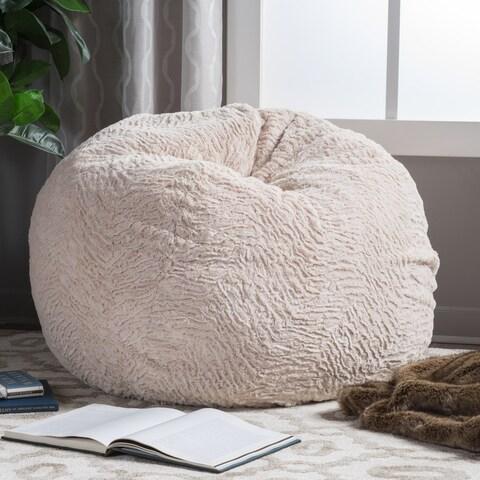 Christopher Knight Home Slacker Beige Faux Fur Shag Bean Bag Chair