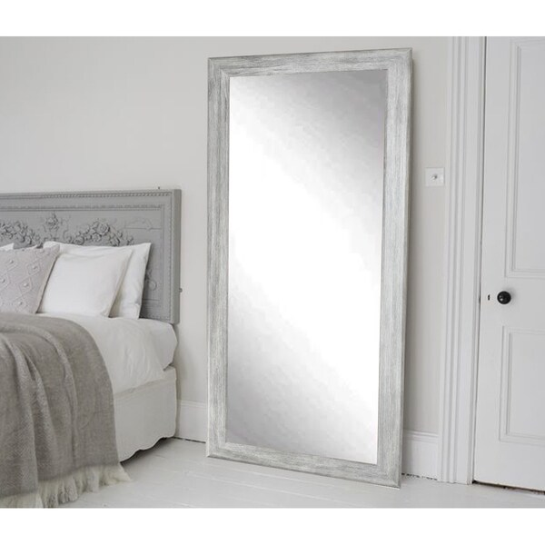 Brandtworks weathered grey barnwood floor mirror free for Gray full length mirror