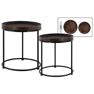 Espresso Brown Wooden Accent Table (Set of 2)