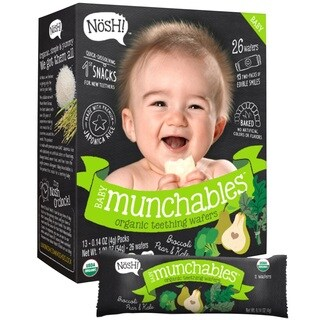 Nosh Baby Munchables 26-count Broccoli, Pear and Kale Organic Rice Teething Wafers