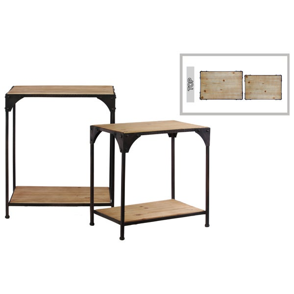 Shop Matte Black Metal Frame Accent Table With Shelf Set Of 2