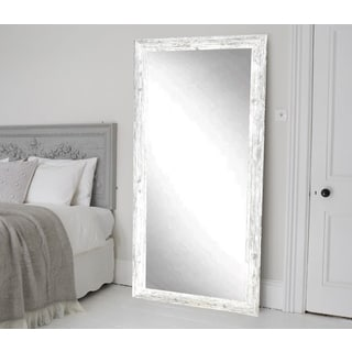 BrandtWorks American Barnwood Distressed Aged White Floor Mirror - White/Grey