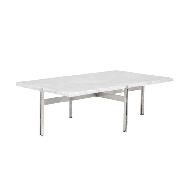 Shop Enzo Modern White Marble Coffee Table Free Shipping Today