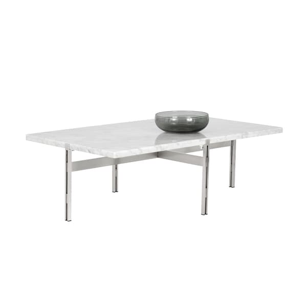 Enzo Modern White Marble Coffee Table