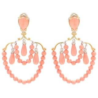 Michael Valitutti Palladium Silver Multi Shape Salmon Bamboo Coral Beaded Dangle Earrings|https://ak1.ostkcdn.com/images/products/14708596/P21239230.jpg?impolicy=medium