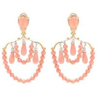 Michael Valitutti Palladium Silver Multi Shape Salmon Bamboo Coral Beaded Dangle Earrings
