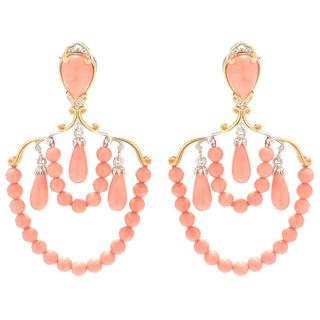 Michael Valitutti Palladium Silver Multi Shape Salmon Bamboo Coral Beaded Dangle Earrings