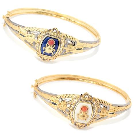 Gems en Vogue Palladium Silver Cleopatra Multi Gemstone Scarab Beetle Bangle Bracelet