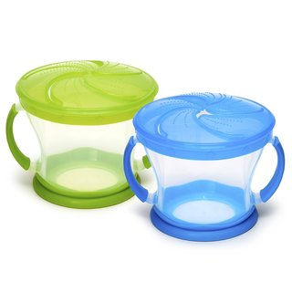 Munchkin Snack Catcher Blue and Green Portable Snack Bowl