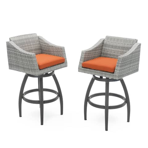 Cannes Set of 2 Swivel Barstools in Tikka Orange by RST Brands