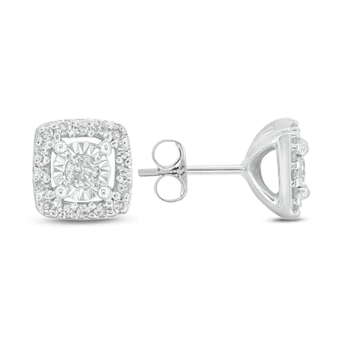 Cali Trove 1/10ct TDW Diamond With Miracle Plate Stud Earring in Sterling Silver - White