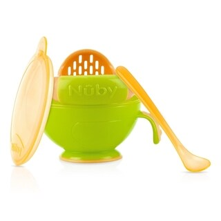 Nuby Green and Orange Plastic Garden-fresh Mash N' Feed Bowl