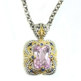 Michael Valitutti Palladium Silver Pink Amethyst and Blue Sapphire Pendant with 18-inch Chain and 2-inch Ext