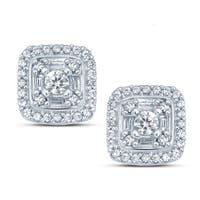 Cali Trove 10k White Gold 1/2ct TDW White Diamond Round And Baguette Composite Fashion Stud Earrings (H-I, I1-I2)