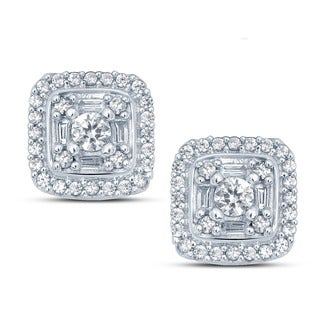 Cali Trove 10k White Gold 1/2ct TDW White Diamond Round And Baguette Composite Fashion Stud Earrings (H-I, I1-I2)
