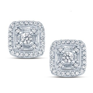10k White Gold 1/2ct TDW White Diamond Round And Baguette Composite Fashion Stud Earrings (H-I, I1-I2)