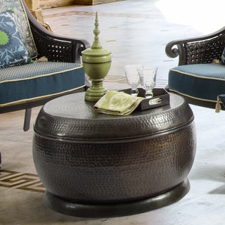 Bombay Outdoors Madras Hammered Bronze Drum Coffee Table