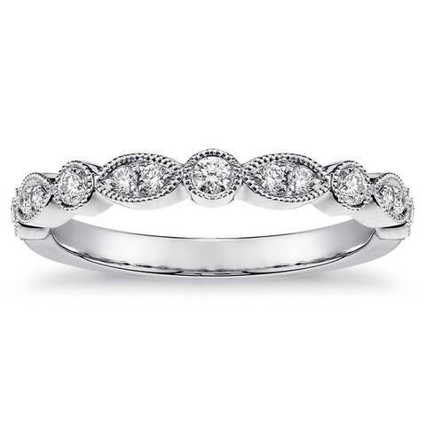 14k Gold 1/3ct TDW White Diamond Bezel and Pave Set Milgrain Ring