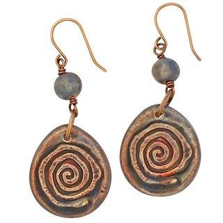 Camille & Co Boho Artisan Handmade Ceramic Swirl Drop Earrings (USA)