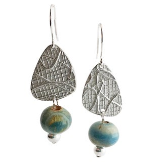 Camille and Co Boho Artisan Earrings With Abstract Pewter Drops and Handmade Ceramic Bead (USA)