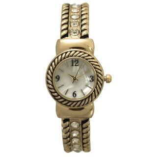 Olivia Pratt Women's Simple Swirly Rhinestones Bangle Watch One Size