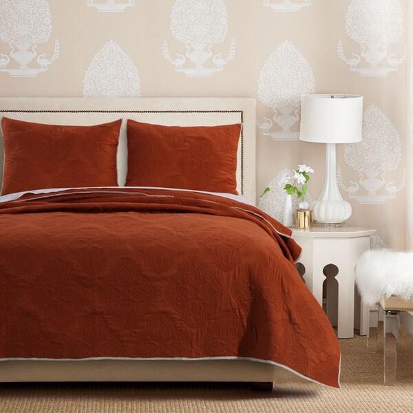 Bedroom Sets For Cheap Burnt Orange Bedroom Accessories Art Themed Bedroom Bedroom Sofa: Shop Cameo Rust Quilt Set