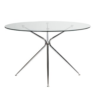 Euro Style Atos Round Tempered Glass 48-inch Dining Table - Silver