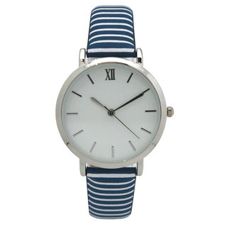 Olivia Pratt Women's Nautical Stripes Leather Watch One Size