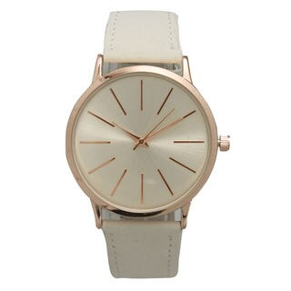 Olivia Pratt Women's Prominent Stick Hour Markers Leather Watch One Size