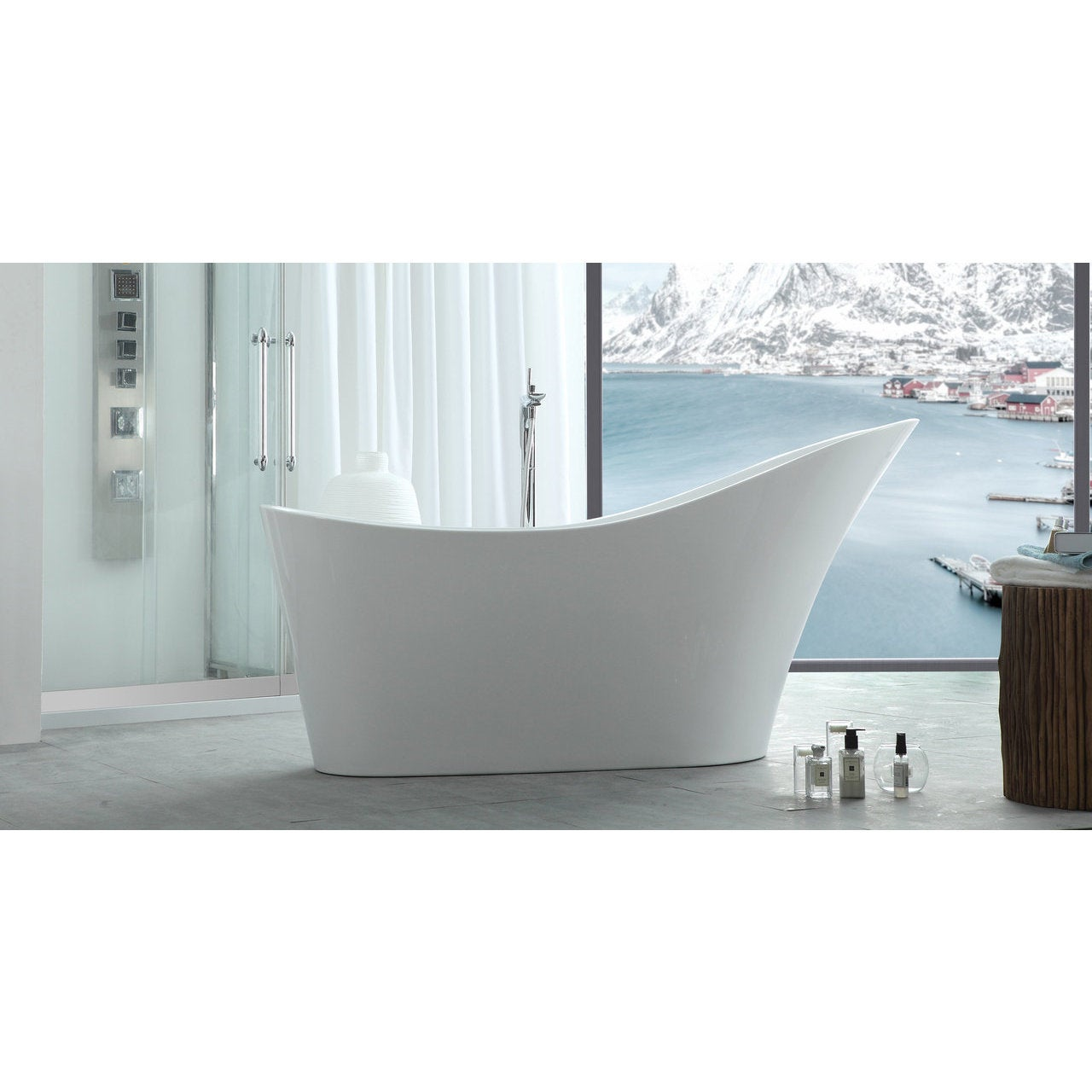 Marvelous Silhouette HelixBath Caracalla Modern White Freestanding .