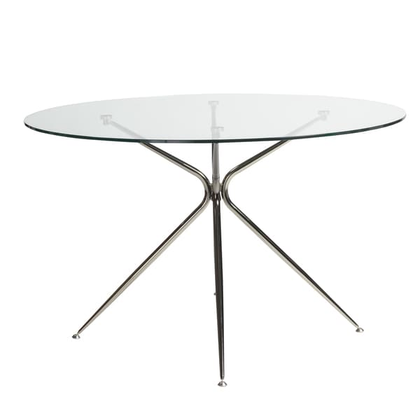 Euro Style Atos Steel Glass 48 Inch Round Dining Table   Black