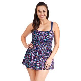 Adjustable Double Strap Women's Plus Size Empire Swimdress by Mazu Swim (Option: 18w)
