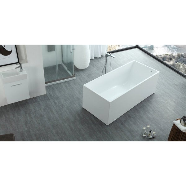 HelixBath Pompeii Modern White Rectangle Slope Bathtub With Overflow   Free  Shipping Today   Overstock.com   21239527