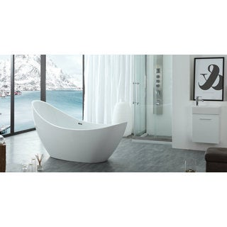 HelixBath Odysseus White Freestanding Swooping Slipper Bathtub with Overflow