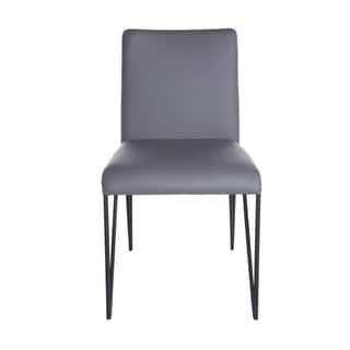 Euro Style Amir Grey Leatherette and Steel Dining Chair