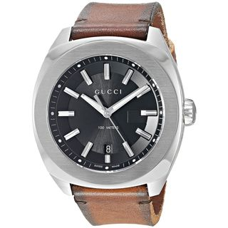 Gucci Men's YA142207 'GG2570 XL' Brown Leather Watch