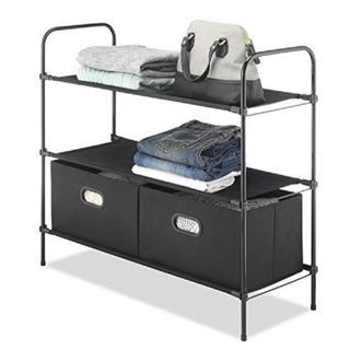 Whitmor Portable Closet Organizer with 3 Durable Fabric Shelves and 2 Removable Boxes