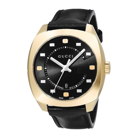Gucci Men's YA142310 'GG2570 Large' Black Leather Watch