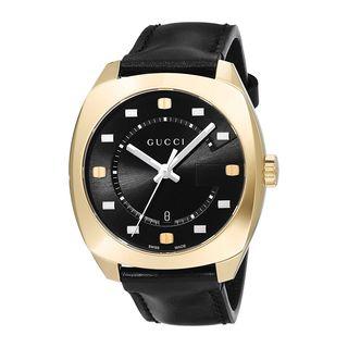 Gucci Men's YA142310 'GG2570 Large' Black Leather Watch