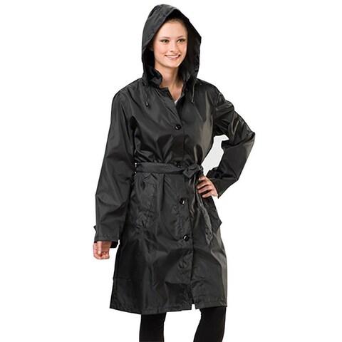Sporto Women's Black Lightweight Packable Rain Jacket