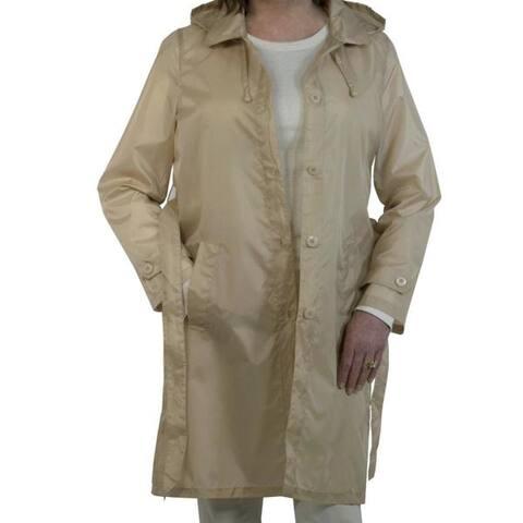 Sporto Women's Khaki Lightweight Packable Rain Jacket