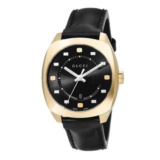 Gucci Women's YA142408 'GG2570 Medium' Black Leather Watch