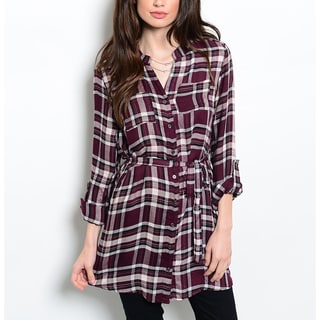 JED Women's Purple Plaid Button Down Tunic Shirt with Waist Tie