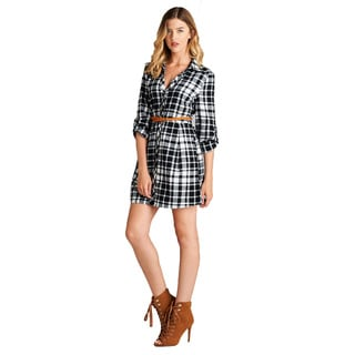 Jed Women's Cotton Long-sleeve Button-down Plaid Shirt Dress