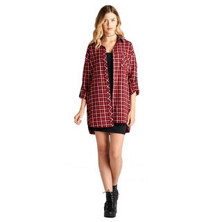 Jed Women's Cotton Tab Sleeve Oversized Plaid Weekend Shirt