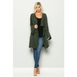 JED Women's Vegan Suede Waterfall Cardigan with Double Layer Bell Sleeves