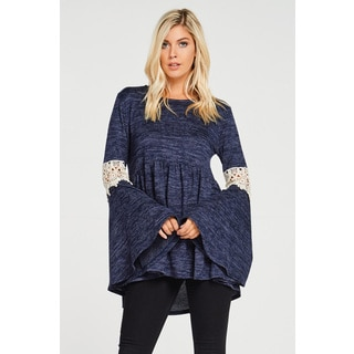 Jed Women's Hacci Fabric Bell-sleeve Knit Tunic Top